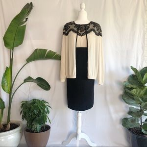 St. John Cream And Black Lace Cardigan And Tank